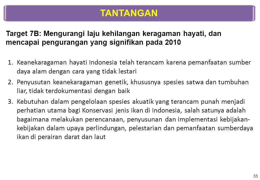 TANTANGAN Target 7B: Mengurangi laju kehilangan keragaman hayati, dan mencapai pengurangan yang signifikan pada 2010 1.Keanekaragaman hayati Indonesia