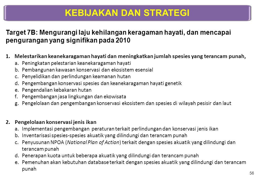 KEBIJAKAN DAN STRATEGI Target 7B: Mengurangi laju kehilangan keragaman hayati, dan mencapai pengurangan yang signifikan pada 2010 1.Melestarikan keane