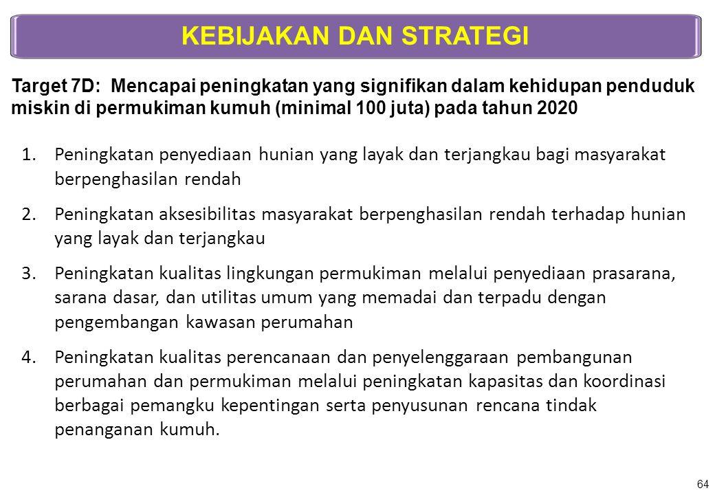 KEBIJAKAN DAN STRATEGI Target 7D: Mencapai peningkatan yang signifikan dalam kehidupan penduduk miskin di permukiman kumuh (minimal 100 juta) pada tah