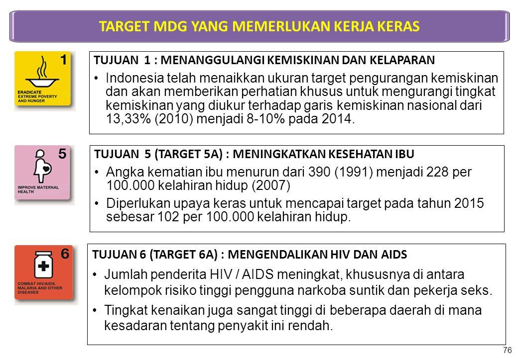 76 TUJUAN 5 (TARGET 5A) : MENINGKATKAN KESEHATAN IBU Angka kematian ibu menurun dari 390 (1991) menjadi 228 per 100.000 kelahiran hidup (2007) Diperlu