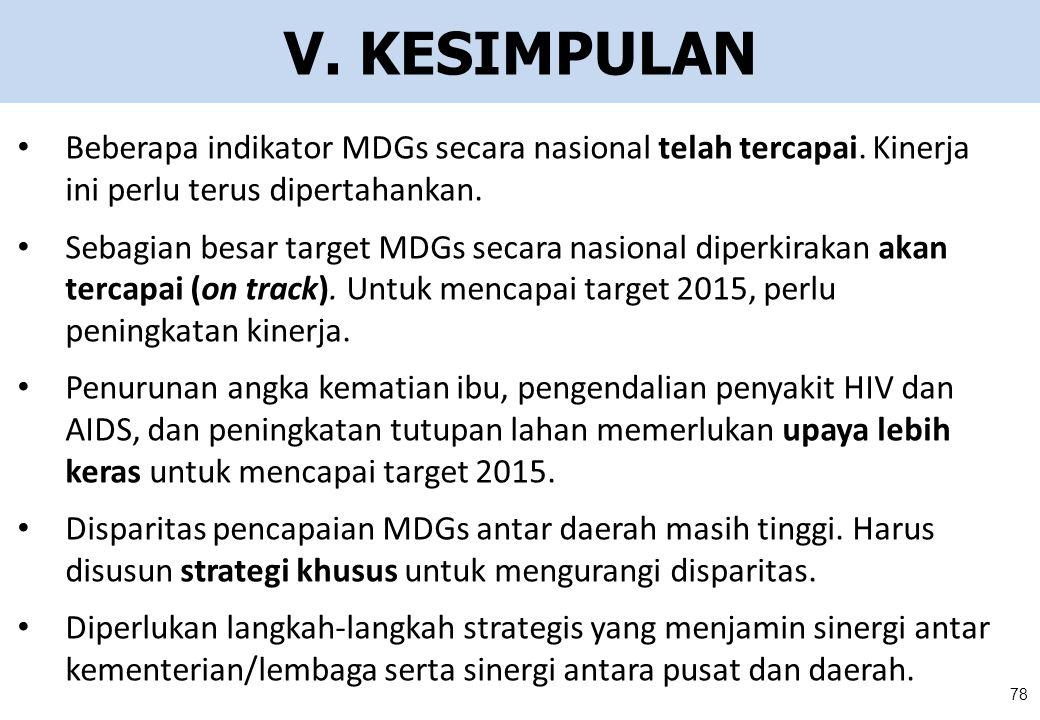 V. KESIMPULAN Beberapa indikator MDGs secara nasional telah tercapai. Kinerja ini perlu terus dipertahankan. Sebagian besar target MDGs secara nasiona