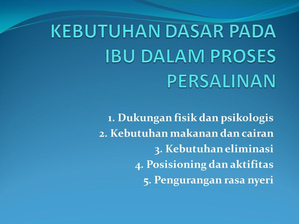 1. Dukungan fisik dan psikologis 2. Kebutuhan makanan dan cairan 3. Kebutuhan eliminasi 4. Posisioning dan aktifitas 5. Pengurangan rasa nyeri