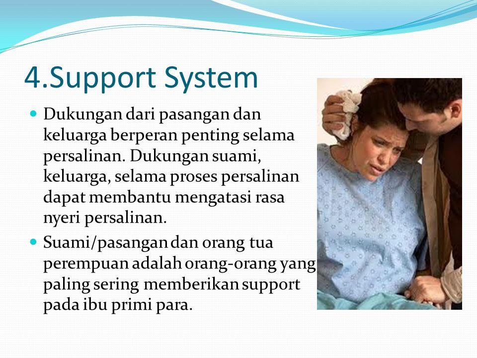 4.Support System Dukungan dari pasangan dan keluarga berperan penting selama persalinan. Dukungan suami, keluarga, selama proses persalinan dapat memb