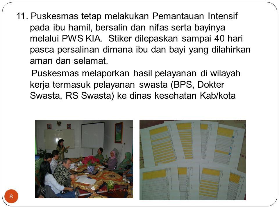Dinas Kesehatan Kab/Kota : Merekap laporan dari seluruh PKM di wilayahnya dan laporan Yankes ibu dari RS pemerintah dan swasta.