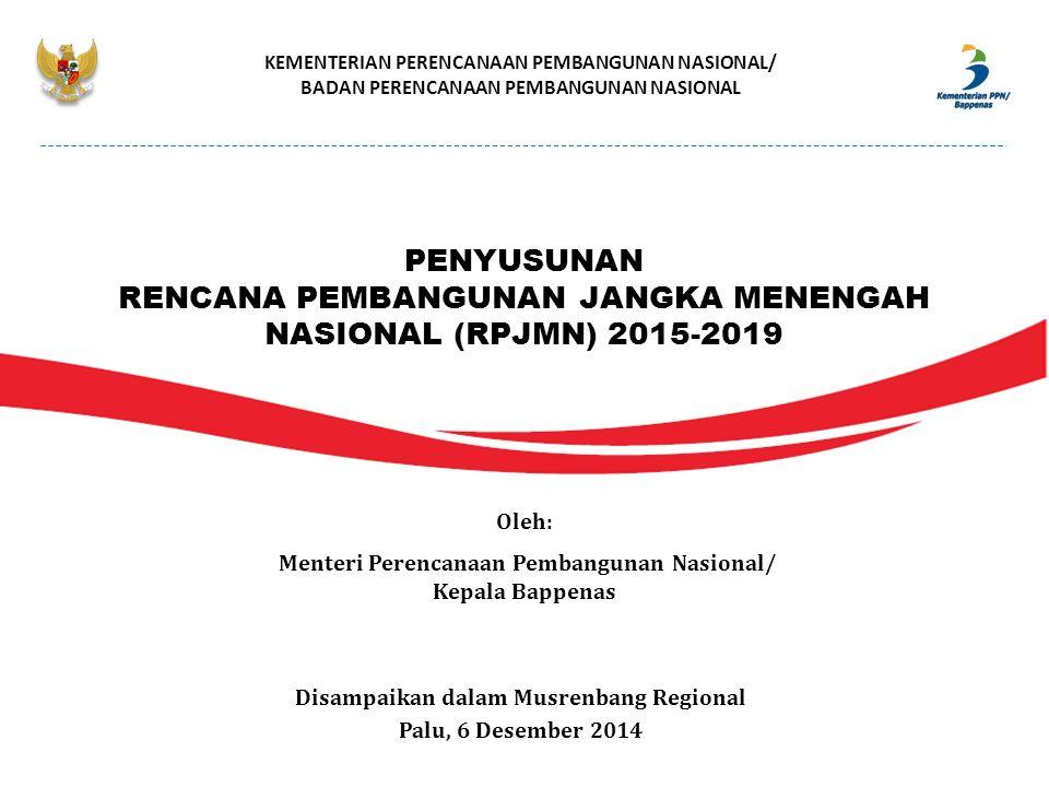 KEMENTERIAN PERENCANAAN PEMBANGUNAN NASIONAL/ BADAN PERENCANAAN PEMBANGUNAN NASIONAL Disampaikan dalam Musrenbang Regional Palu, 6 Desember 2014 Oleh: