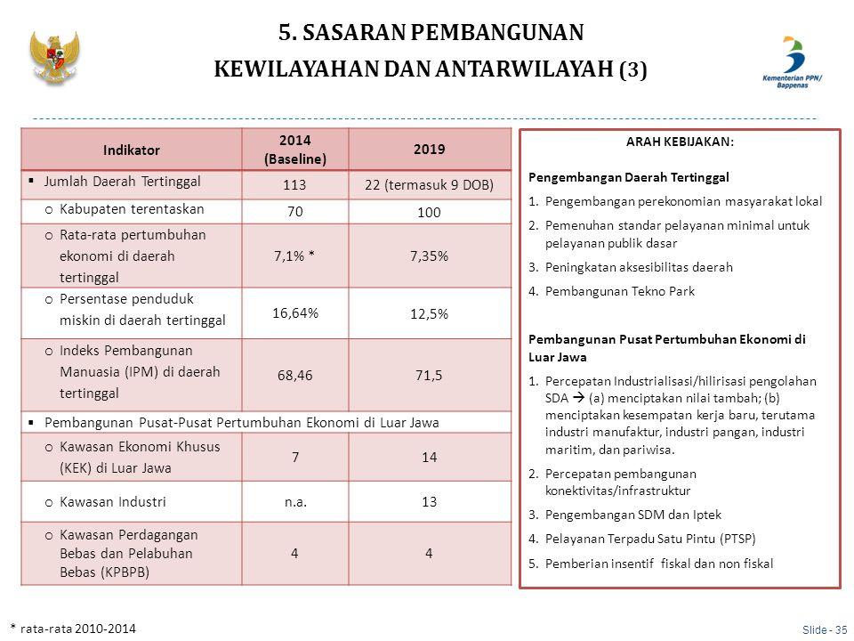 Indikator 2014 (Baseline) 2019  Jumlah Daerah Tertinggal 11322 (termasuk 9 DOB) o Kabupaten terentaskan 70 100 o Rata-rata pertumbuhan ekonomi di dae