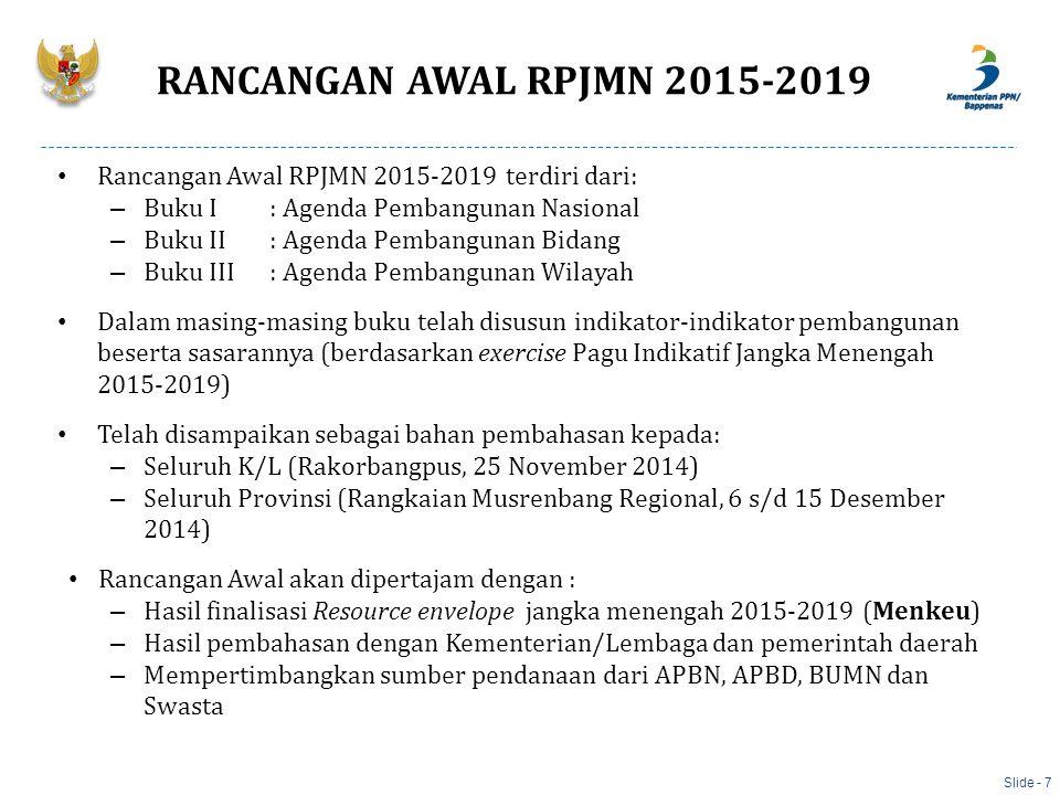 INDIKATOR 2014 (baseline) 2019 Produksi DN untuk Kedaulatan Pangan - Padi (Juta Ton) 69,982,0 - Jagung (Juta Ton) 18,623,4 - Kedelai (Juta Ton) 0,891,02 - Gula (Juta Ton) 2,83,4 - Daging Sapi (Ribu Ton)395,1459,9 - Produksi perikanan (juta ton)24,940-50 Pembangunan, Peningkatan dan Rehabilitasi Irigasi: - Pembangunan dan Peningkatan Jaringan irigasi air permukaan, air tanah dan rawa (juta ha) 8,99,89 - Rehabililtasi jariangan irigasi permukaan, air tanah dan rawa (juta ha) 2,713,01 - Pembangunan dan Peningkatan irigasi tambak (ribu ha) 189,75304,75 -Pembangunan waduk)*2149 Slide - 18 3.