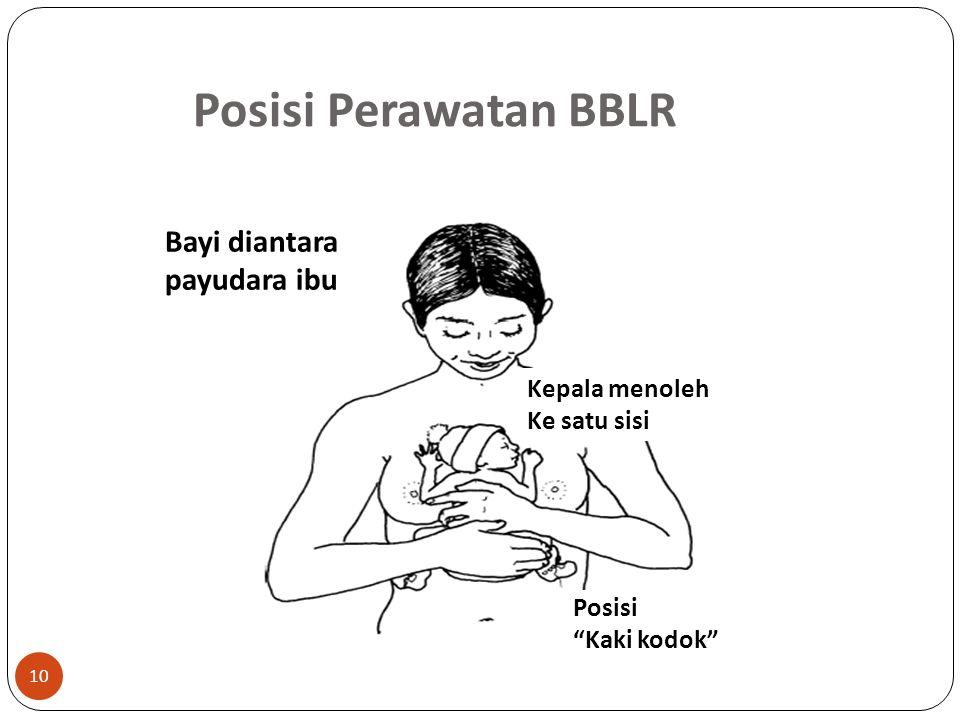 Posisi Perawatan BBLR Kepala menoleh Ke satu sisi Posisi Kaki kodok Bayi diantara payudara ibu 10