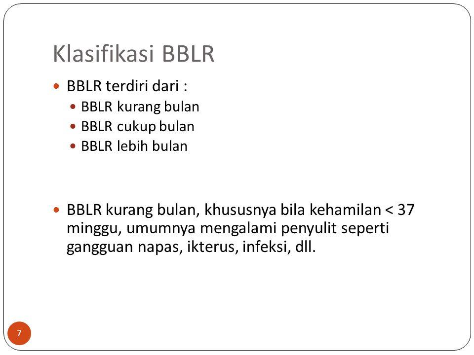 Klasifikasi BBLR BBLR terdiri dari : BBLR kurang bulan BBLR cukup bulan BBLR lebih bulan BBLR kurang bulan, khususnya bila kehamilan < 37 minggu, umumnya mengalami penyulit seperti gangguan napas, ikterus, infeksi, dll.