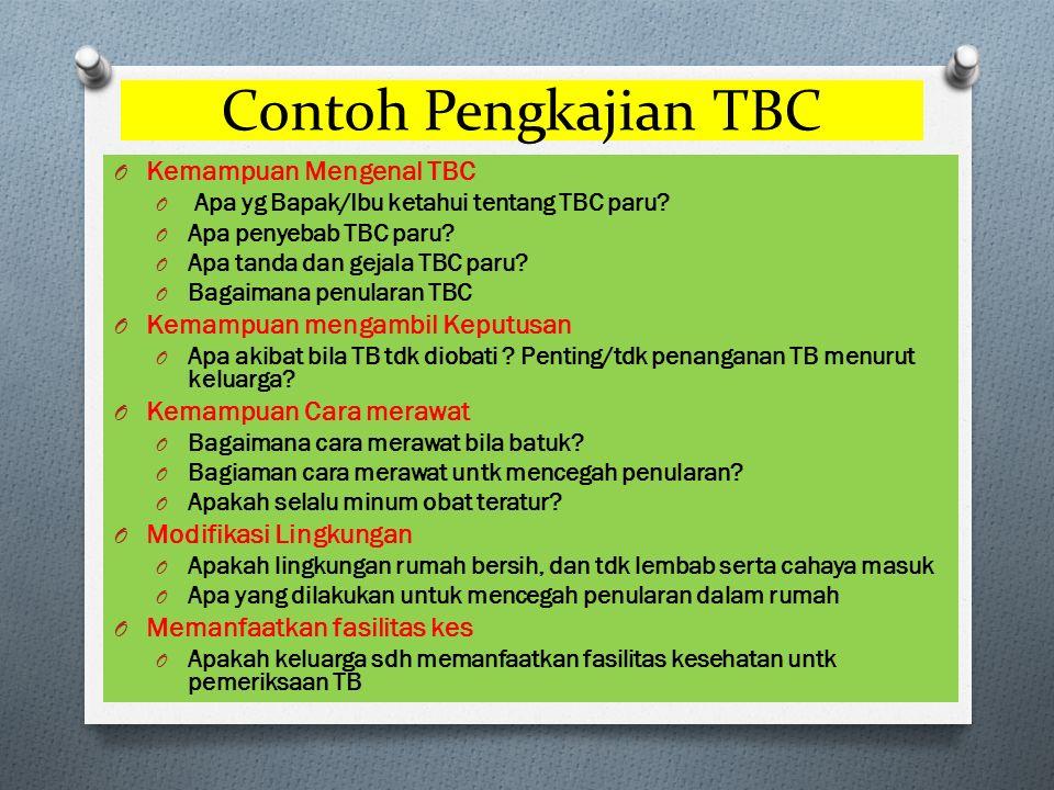 Contoh Pengkajian TBC O Kemampuan Mengenal TBC O Apa yg Bapak/Ibu ketahui tentang TBC paru.