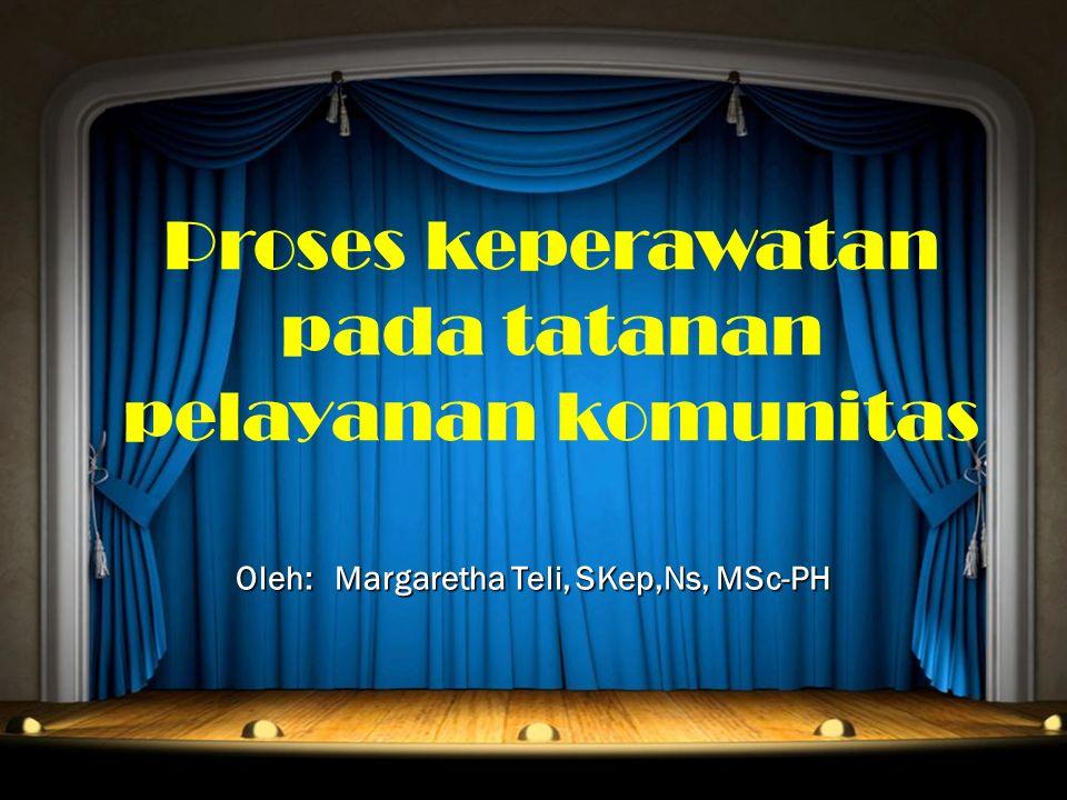 Proses keperawatan pada tatanan pelayanan komunitas Oleh: Margaretha Teli, SKep,Ns, MSc-PH