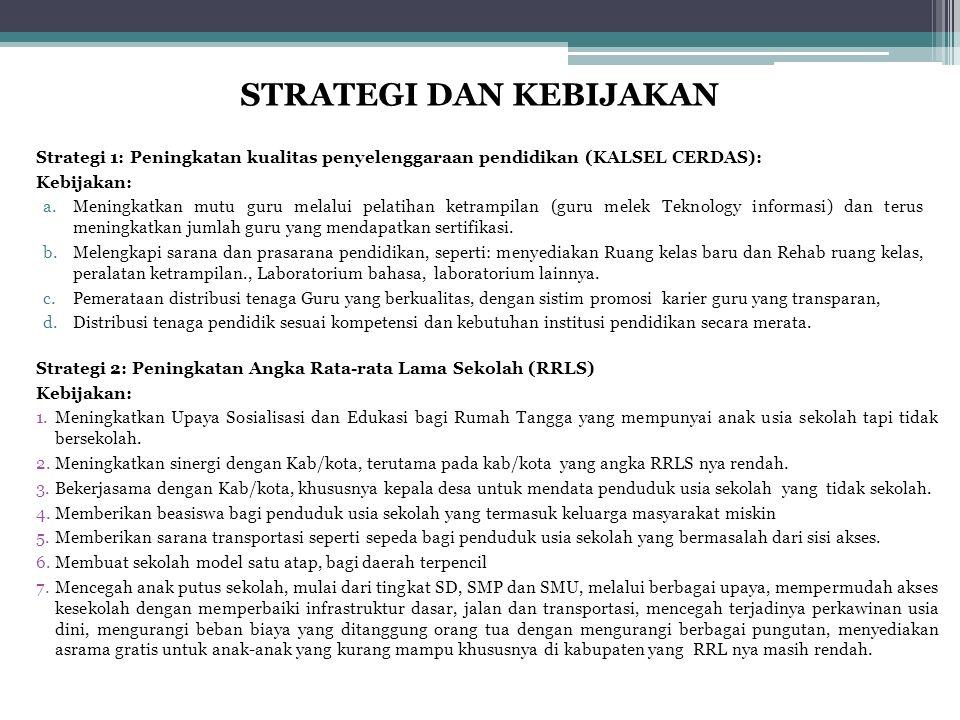 Strategi 1: Peningkatan kualitas penyelenggaraan pendidikan (KALSEL CERDAS): Kebijakan: a.Meningkatkan mutu guru melalui pelatihan ketrampilan (guru m