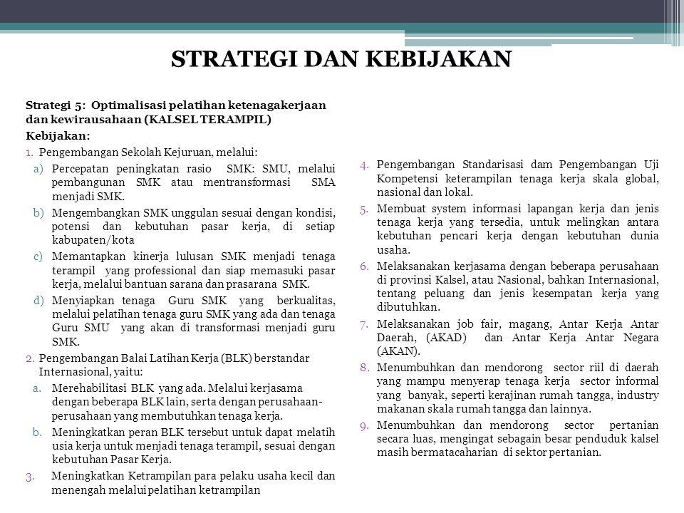 Strategi 5: Optimalisasi pelatihan ketenagakerjaan dan kewirausahaan (KALSEL TERAMPIL) Kebijakan: 1.Pengembangan Sekolah Kejuruan, melalui: a)Percepat