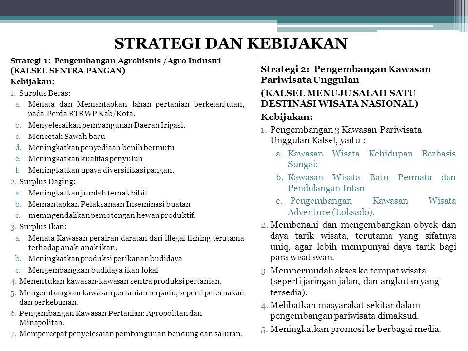 Strategi 1: Pengembangan Agrobisnis /Agro Industri (KALSEL SENTRA PANGAN) Kebijakan: 1.Surplus Beras: a.Menata dan Memantapkan lahan pertanian berkela