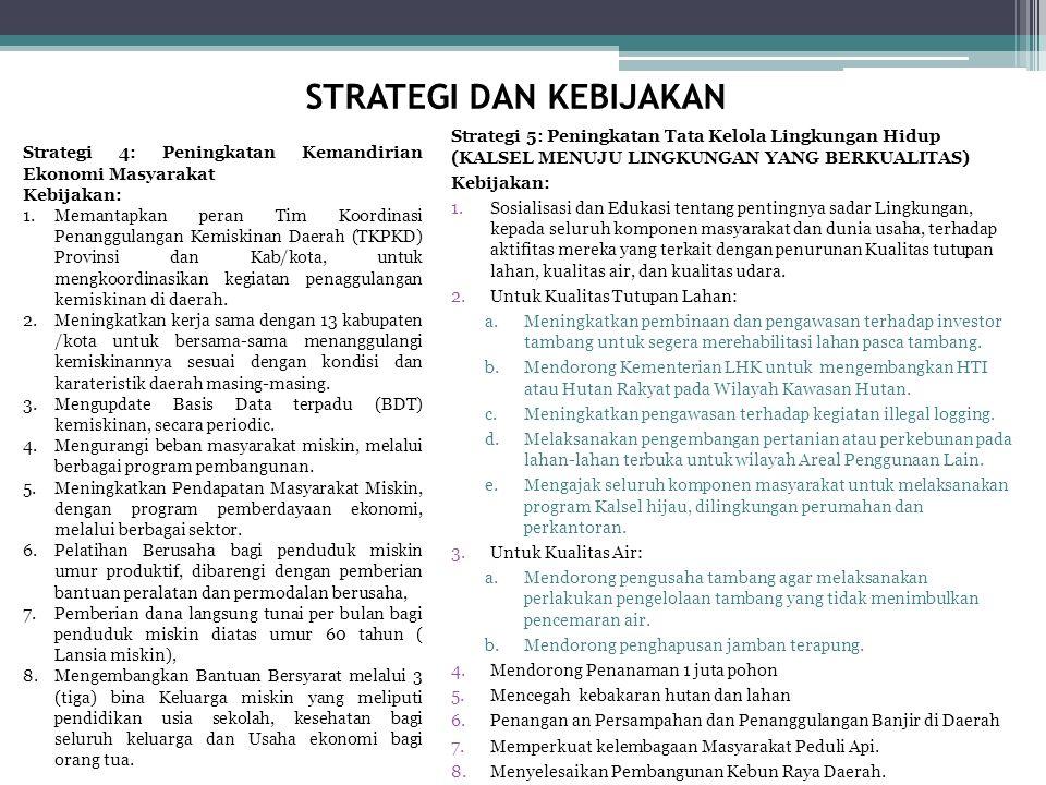 Strategi 5: Peningkatan Tata Kelola Lingkungan Hidup (KALSEL MENUJU LINGKUNGAN YANG BERKUALITAS) Kebijakan: 1.Sosialisasi dan Edukasi tentang pentingn