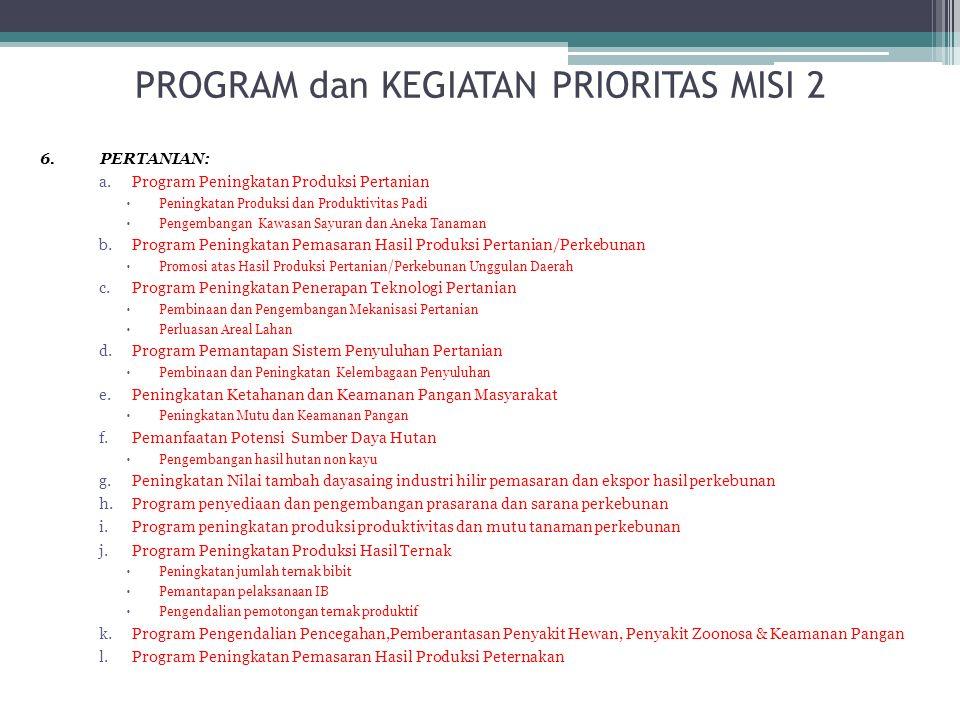 6. PERTANIAN: a.Program Peningkatan Produksi Pertanian  Peningkatan Produksi dan Produktivitas Padi  Pengembangan Kawasan Sayuran dan Aneka Tanaman