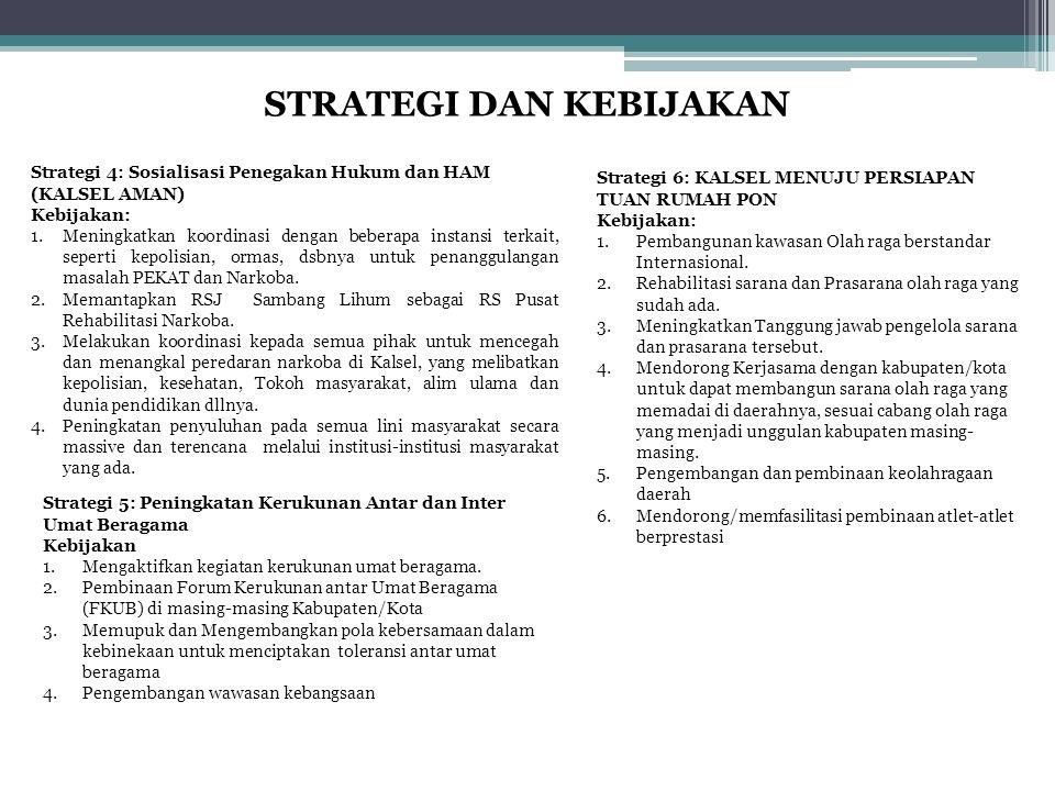 STRATEGI DAN KEBIJAKAN Strategi 4: Sosialisasi Penegakan Hukum dan HAM (KALSEL AMAN) Kebijakan: 1.Meningkatkan koordinasi dengan beberapa instansi ter