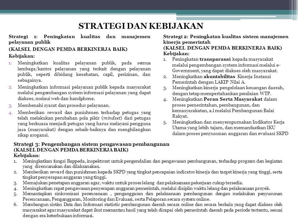 STRATEGI DAN KEBIJAKAN Strategi 1: Peningkatan kualitas dan manajemen pelayanan publik (KALSEL DENGAN PEMDA BERKINERJA BAIK) Kebijakan: 1.Meningkatkan