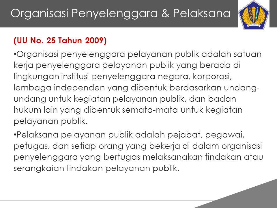 Tankertanker Design Organisasi Penyelenggara & Pelaksana (UU No. 25 Tahun 2009) Organisasi penyelenggara pelayanan publik adalah satuan kerja penyelen