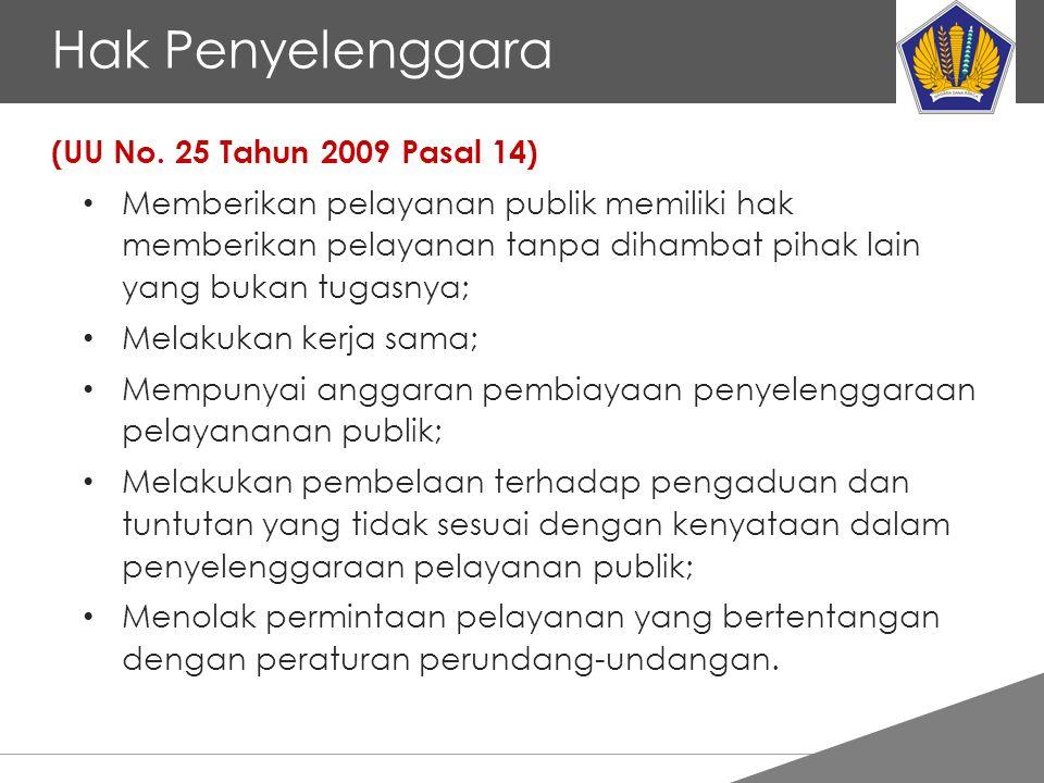Tankertanker Design Hak Penyelenggara (UU No. 25 Tahun 2009 Pasal 14) Memberikan pelayanan publik memiliki hak memberikan pelayanan tanpa dihambat pih