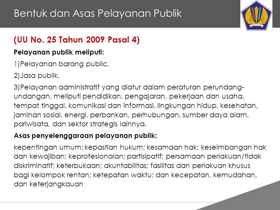 Tankertanker Design Bentuk dan Asas Pelayanan Publik (UU No. 25 Tahun 2009 Pasal 4) Pelayanan publik meliputi: 1)Pelayanan barang public, 2)Jasa publi