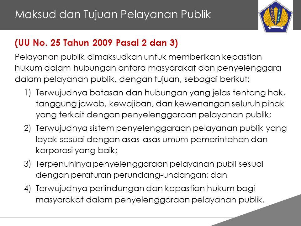 Tankertanker Design Maksud dan Tujuan Pelayanan Publik (UU No. 25 Tahun 2009 Pasal 2 dan 3) Pelayanan publik dimaksudkan untuk memberikan kepastian hu