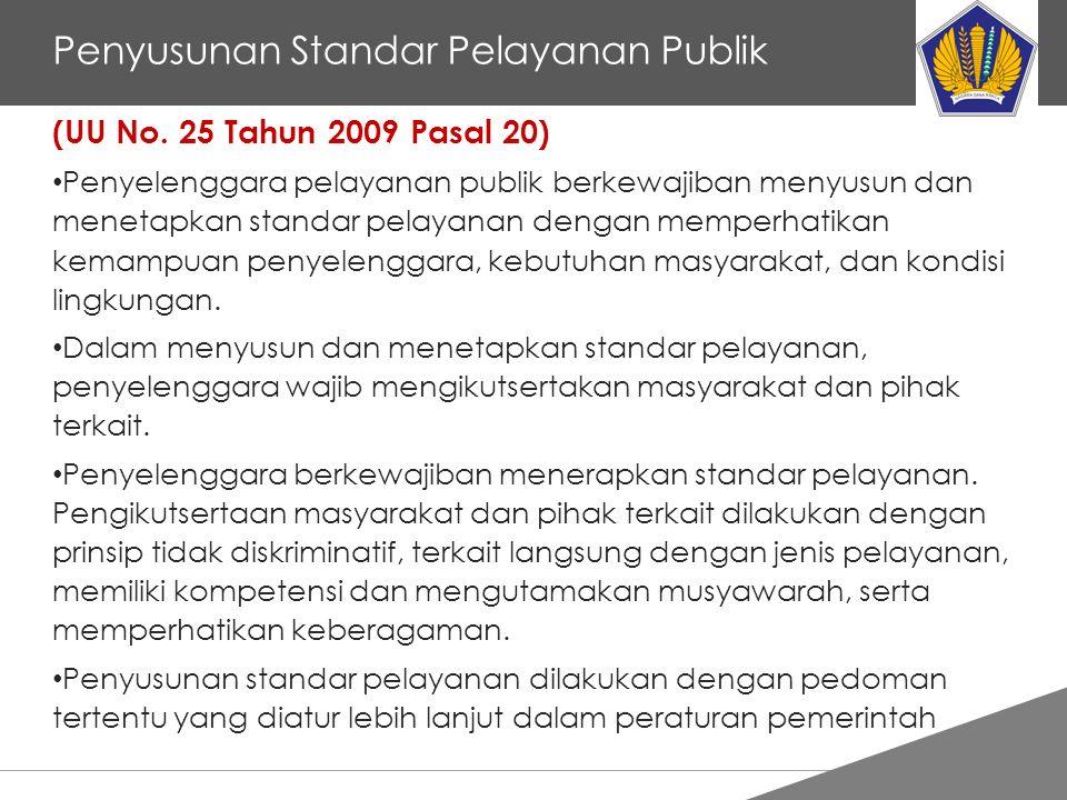 Tankertanker Design Penyusunan Standar Pelayanan Publik (UU No. 25 Tahun 2009 Pasal 20) Penyelenggara pelayanan publik berkewajiban menyusun dan menet