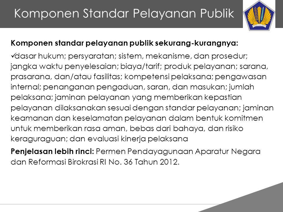 Tankertanker Design Komponen Standar Pelayanan Publik Komponen standar pelayanan publik sekurang-kurangnya: dasar hukum; persyaratan; sistem, mekanism