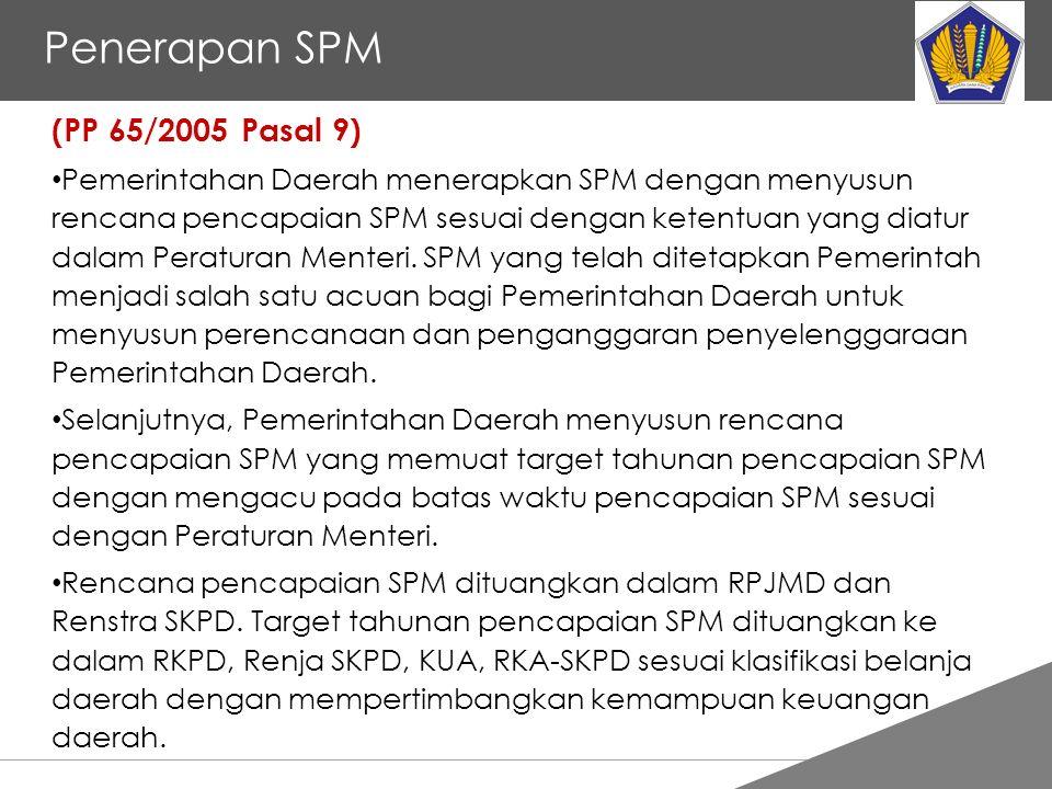 Tankertanker Design Penerapan SPM (PP 65/2005 Pasal 9) Pemerintahan Daerah menerapkan SPM dengan menyusun rencana pencapaian SPM sesuai dengan ketentuan yang diatur dalam Peraturan Menteri.