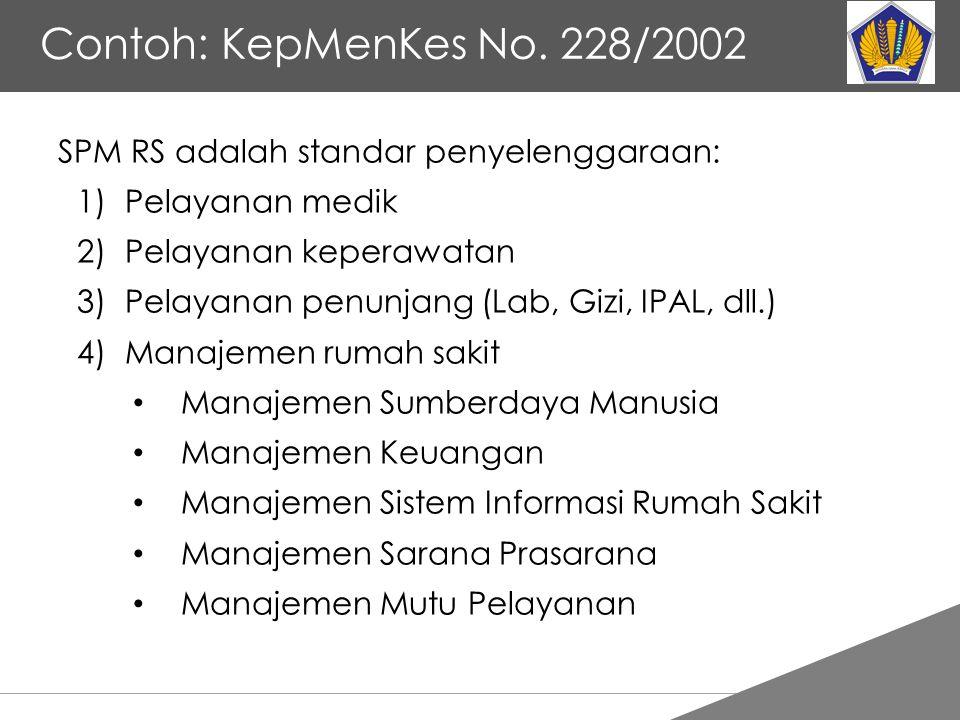 Tankertanker Design Contoh: KepMenKes No. 228/2002 SPM RS adalah standar penyelenggaraan: 1)Pelayanan medik 2)Pelayanan keperawatan 3)Pelayanan penunj
