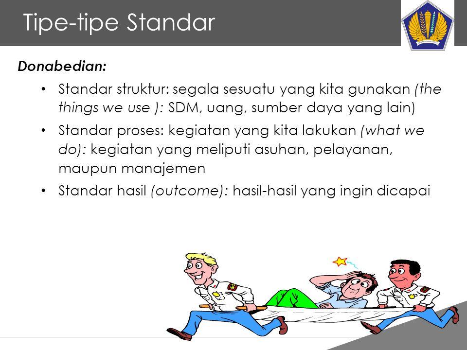 Tankertanker Design Tipe-tipe Standar Donabedian: Standar struktur: segala sesuatu yang kita gunakan (the things we use ): SDM, uang, sumber daya yang
