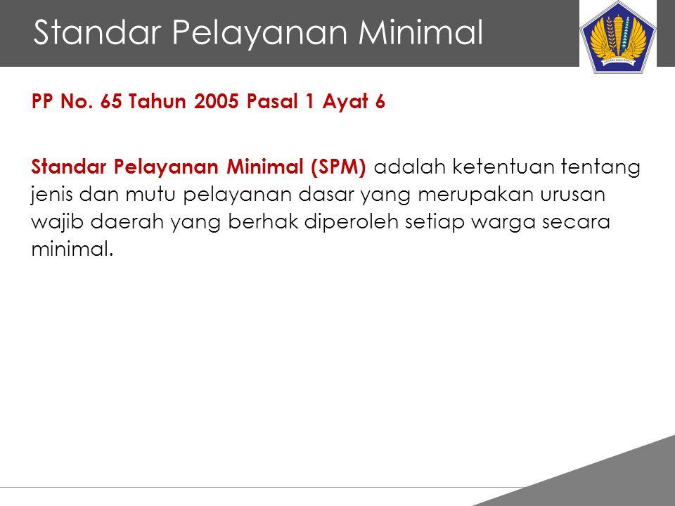 Tankertanker Design Standar Pelayanan Minimal PP No. 65 Tahun 2005 Pasal 1 Ayat 6 Standar Pelayanan Minimal (SPM) adalah ketentuan tentang jenis dan m