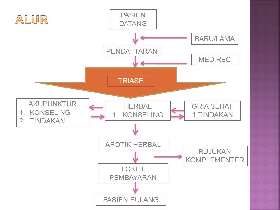PASIEN DATANG PENDAFTARAN BARU/LAMA HERBAL 1.KONSELING AKUPUNKTUR 1.KONSELING 2.TINDAKAN APOTIK HERBAL TRIASE MED.REC GRIA SEHAT 1,TINDAKAN LOKET PEMBAYARAN PASIEN PULANG RUJUKAN KOMPLEMENTER