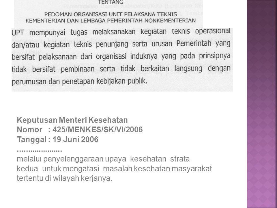 Keputusan Menteri Kesehatan Nomor : 425/MENKES/SK/VI/2006 Tanggal : 19 Juni 2006.....................