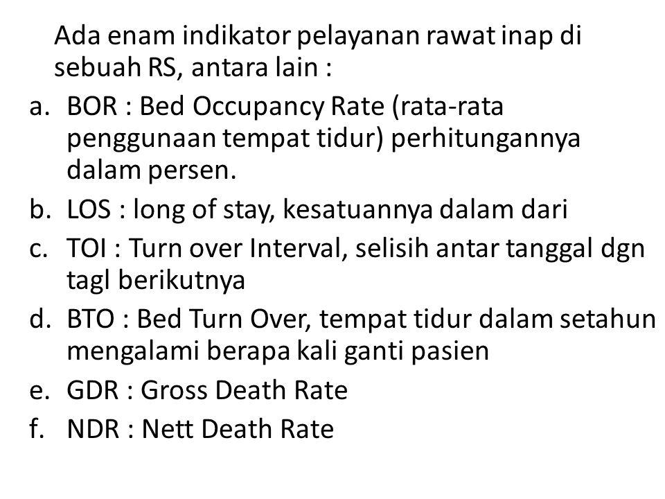 Ada enam indikator pelayanan rawat inap di sebuah RS, antara lain : a.BOR : Bed Occupancy Rate (rata-rata penggunaan tempat tidur) perhitungannya dalam persen.