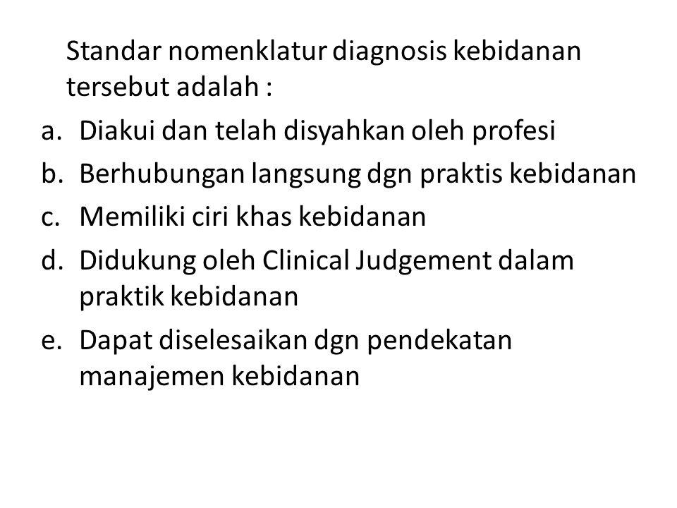 Standar nomenklatur diagnosis kebidanan tersebut adalah : a.Diakui dan telah disyahkan oleh profesi b.Berhubungan langsung dgn praktis kebidanan c.Memiliki ciri khas kebidanan d.Didukung oleh Clinical Judgement dalam praktik kebidanan e.Dapat diselesaikan dgn pendekatan manajemen kebidanan