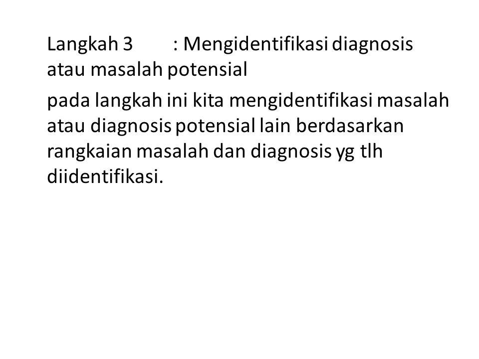 Langkah 3: Mengidentifikasi diagnosis atau masalah potensial pada langkah ini kita mengidentifikasi masalah atau diagnosis potensial lain berdasarkan rangkaian masalah dan diagnosis yg tlh diidentifikasi.