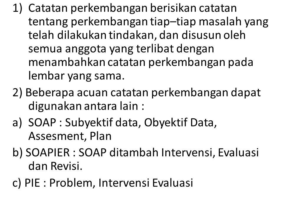 1)Catatan perkembangan berisikan catatan tentang perkembangan tiap–tiap masalah yang telah dilakukan tindakan, dan disusun oleh semua anggota yang terlibat dengan menambahkan catatan perkembangan pada lembar yang sama.
