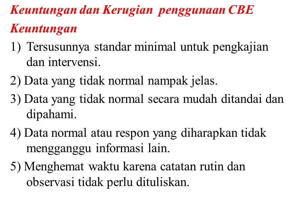 Keuntungan dan Kerugian penggunaan CBE Keuntungan 1)Tersusunnya standar minimal untuk pengkajian dan intervensi.