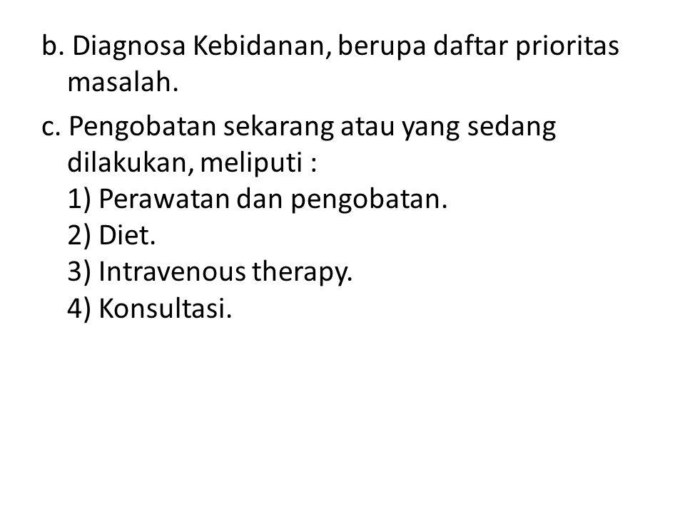 b. Diagnosa Kebidanan, berupa daftar prioritas masalah.