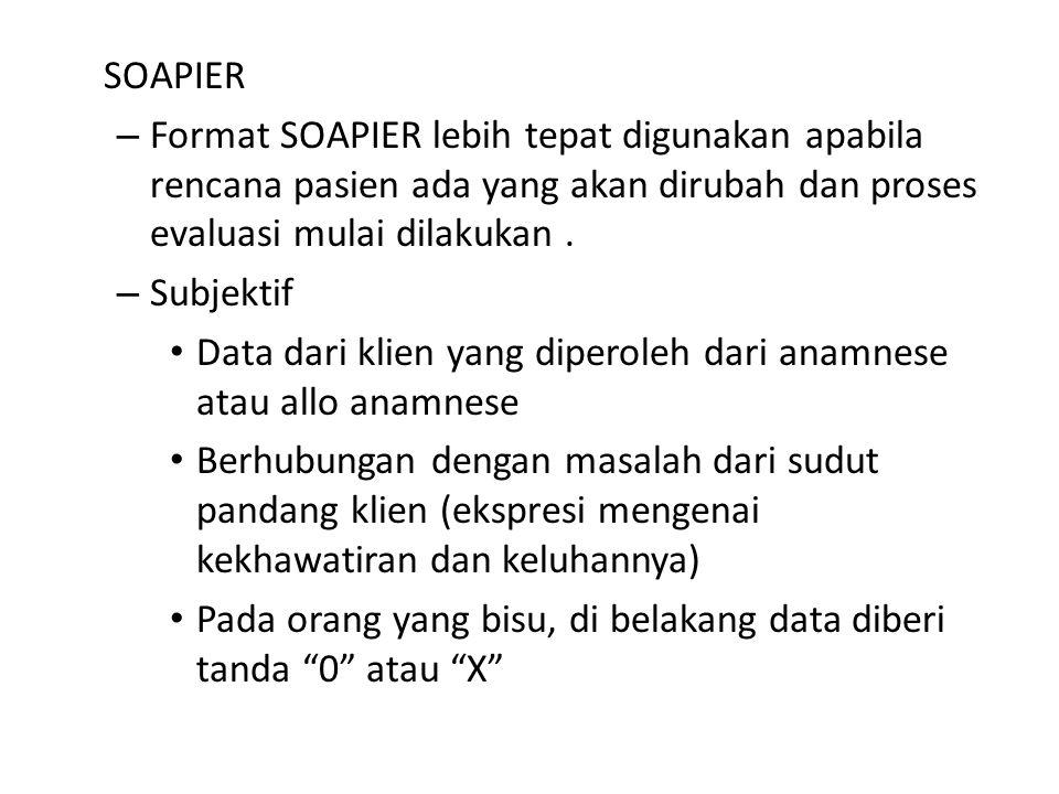 SOAPIER – Format SOAPIER lebih tepat digunakan apabila rencana pasien ada yang akan dirubah dan proses evaluasi mulai dilakukan.