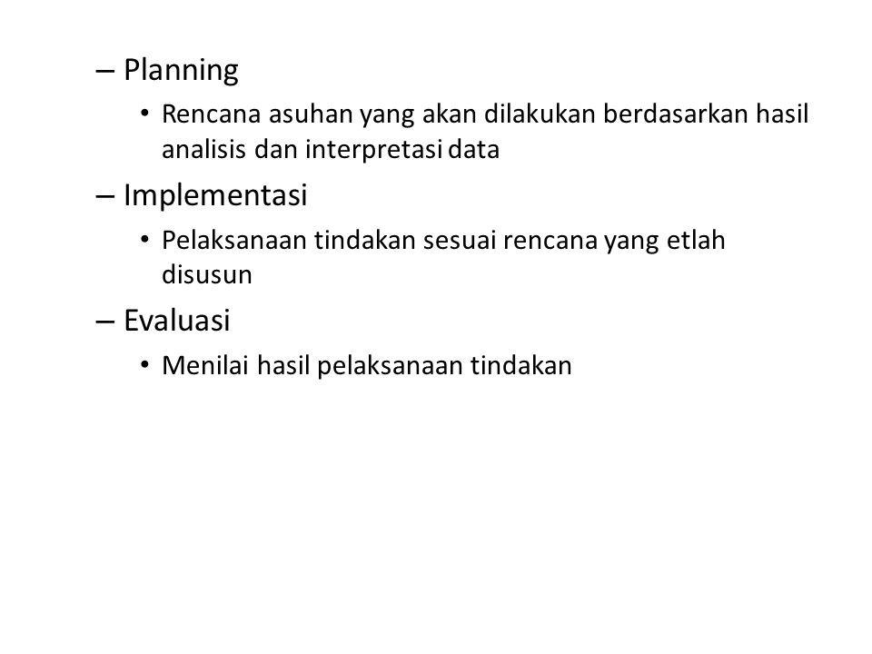 – Planning Rencana asuhan yang akan dilakukan berdasarkan hasil analisis dan interpretasi data – Implementasi Pelaksanaan tindakan sesuai rencana yang etlah disusun – Evaluasi Menilai hasil pelaksanaan tindakan