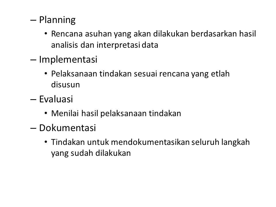 – Planning Rencana asuhan yang akan dilakukan berdasarkan hasil analisis dan interpretasi data – Implementasi Pelaksanaan tindakan sesuai rencana yang etlah disusun – Evaluasi Menilai hasil pelaksanaan tindakan – Dokumentasi Tindakan untuk mendokumentasikan seluruh langkah yang sudah dilakukan