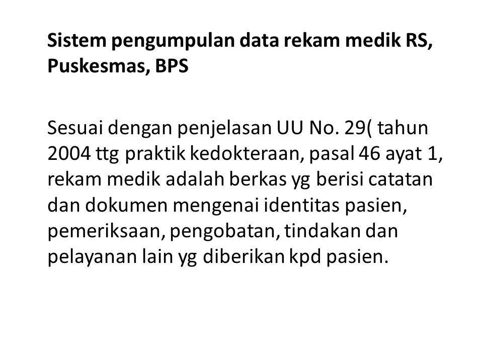Sistem pengumpulan data rekam medik RS, Puskesmas, BPS Sesuai dengan penjelasan UU No.