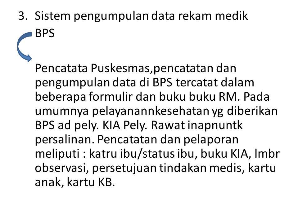 3.Sistem pengumpulan data rekam medik BPS Pencatata Puskesmas,pencatatan dan pengumpulan data di BPS tercatat dalam beberapa formulir dan buku buku RM.