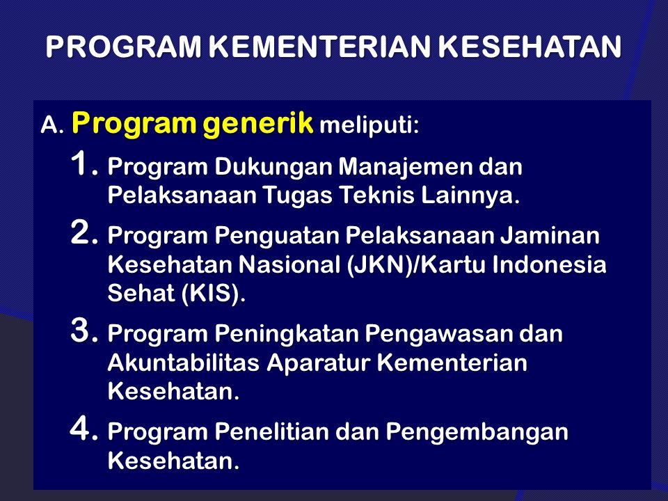 PROGRAM KEMENTERIAN KESEHATAN A. Program generik meliputi: 1. Program Dukungan Manajemen dan Pelaksanaan Tugas Teknis Lainnya. 2. Program Penguatan Pe