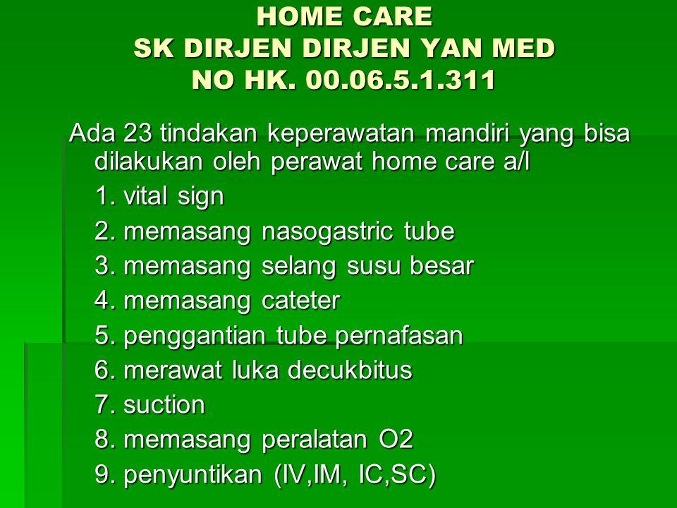 HOME CARE SK DIRJEN DIRJEN YAN MED NO HK. 00.06.5.1.311 Ada 23 tindakan keperawatan mandiri yang bisa dilakukan oleh perawat home care a/l 1. vital si