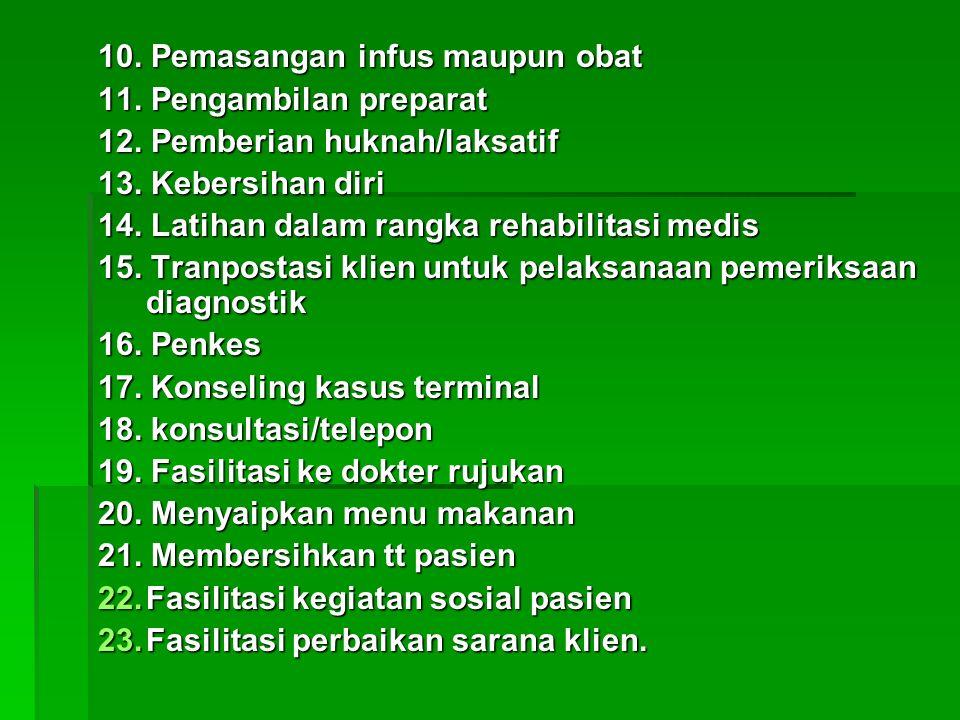 10. Pemasangan infus maupun obat 11. Pengambilan preparat 12.