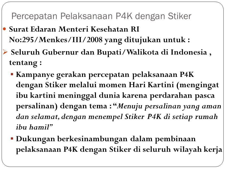  Seluruh Ka Dinkes Propinsi/Kab/Kota di Indonesia, tentang :  Pemantauan setiap ibu hamil secara intensif dengan pemasangan Stiker P4K di setiap rumah ibu hamil.