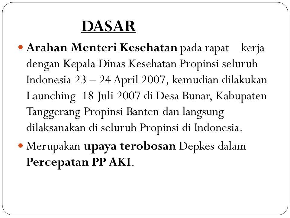 Arahan Bpk Presiden RI pada Rapat terbatas Bidang Kesehatan pada tanggal 20 Februari 2008 :  Segera dilaksanakan percepatan pelaksanaan Program Perencanaan Persalinan dan Pencegahan Komplikasi (P4K) dengan Stiker di Seluruh wilayah di Indonesia.